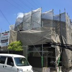 茂原市にて和風住宅外壁塗装工事中